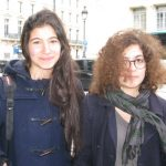 """Ema (left) and Eleonore who go to college near Gare du Nord are against the project. """"I just think it will encourage others to take drugs. I am against it. It is not going to stop their addiction, which is what needs to be done,"""" says Ema."""