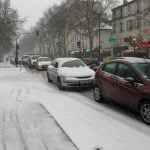 The main arteries into Paris were clogged with more traffic than normal on Tuesday morning as icy roads made driving treacherous. On Avenue Jaures it would have been quicker to walk.
