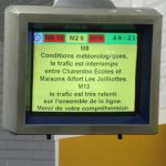 Paris's transport system was severely disrupted because of the weather with Metro and RER services hit by long delays as seen on this information screen at metro station Ourcq.