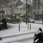 With the icy roads of the capital clogged with traffic, this motorcyclist in Paris takes the footpath to try and get to his destination a little quicker.