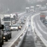 Dozens of cars and trucks stuck in traffic on a snow-covered motorway near Gouvets, northwestern France on March 11th.Photo: Charly Triballeau/AFP