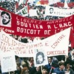 Anti-apartheid campaigners in France organised numerous street protests to call for Mandela's release from prison. This photo from the ANC shows one rally in Paris where protesters held banners calling for a boycott of South Africa.Photo: ANC