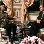 December 11th, 2000. Mandela discusses aid to Africa with then French President Jacques Chirac at the Elysées Palace in Paris.Photo: John Schults/AFP