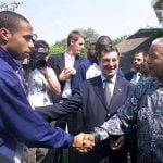 October 5th, 2000. Mandela, who left office the previous summer, welcomes French footballer Thierry Henry in Johannesburg, ahead of a friendly match between France and South Africa.Photo: Pascal George