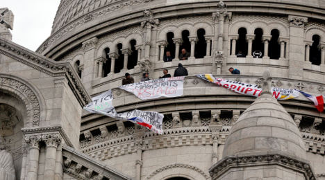 Photo of the day: Sacre Coeur hit by protest