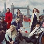 The winter coat: The female crew step on board to brave the chilly waters of London's River Thames, wrapped in a diverse range of winter coats, from luxe fabrics in pretty pale shades to soft faux furs in animal prints.Photo: Annie Leibovitz for Marks & Spencer