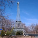 This 18-metre-tall Eiffel Tower immitation in PARIS, TENNESSEE, has become a landmark in its own right. It was built by engineering students at Christian Brothers University to commemorate the 1990 Memphis in May festival.  Photo: thelmabowlen