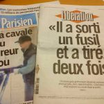 """The front pages of French newspapers on Tuesday were dominated by reports on the shootings, including Liberation, which managed to produce a paper, despite the gunman targeting their own offices, which left many staff traumatised. Their front page headline reads: """"He pulled out a gun and shot twice"""". The front page of Le Parisien reads: """"The escape of the crazy shooter"""". Photo: The Local"""