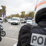 French police patrol the Champs Elysee after reports the suspected shooter had hijacked a car near La Defense, where he had opened fire at the offices of Société Géneral bank and demanded to be dropped off at the famous avenue. Photo: AFP
