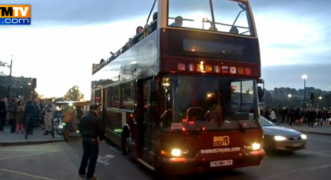 Drivers of sightseeing buses in Paris hold strike