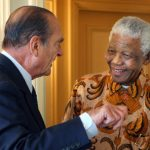Here former French President Jacques Chirac (L) is welcomed by former South African President Nelson Mandela in a Parisian palace, on September 5th 2007. Mandela, then aged 89, was in Paris for a three-day visit as part of a fundraising tour for his foundations and was welcomed by French President Nicolas Sarkozy at the airport, a courtesy that is usually reserved to visiting heads of state.Photo: Patrick Kovaric/AFP
