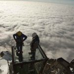 Not many get to work above the clouds. On a fine day you can see the highest peaks of Italy France and Switzerland from the glass box.Photo: J Bozon