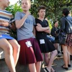 Schoolboys defy critics and wear skirts to class