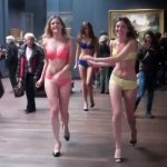 """<b>Prancing Panties:</b> Three models put on a surprise (and unauthorized) fashion show for the Etam lingerie brand in the the Musée d'Orsay's renowned impressionist gallery in 2012. Trouble was, nobody told the museum, which responded by saying the stunt was """"a serious infringement of the Orsay's rights and the rights of others. You can see a video of the stunt here. <a href=""""http://vimeo.com/64071450"""">Lingerie ladies storm the Musée d'Orsay</a>Photo: Vimeo"""
