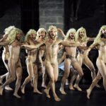 """<b>Flash dance:</b> Wigs and weiners were on display as a group of nude dancers performed """"Un peu de tendresse bordel de merde !"""" (a little tenderness for crying out loud !) at the Avignon International Theatre festival in 2009.Photo: AFP"""