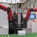 <b>Robots on a budget:</b> This industrial robot showcased at the exhibition comes at a lower price than many other similar machines.