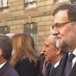World leaders and politicians queue for the bus on the way to the rally. Pictured here are former French President and leader of the UMP (Union for a Popular Movement) Nicolas Sarkozy and Mariano Rajoy, the prime minister of Spain. Photo: Screen grab: BFM TV