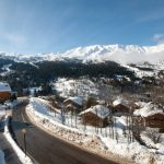 Less than 15 minutes from the ski slopes, the property offers an astonishing view of the Three Vallées ski area. Photo: Leggett