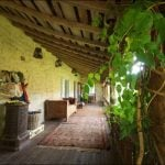 Plants adorn the covered wooden porch, which gives access to the spacious kitchen and dining area. Photo: Leggett