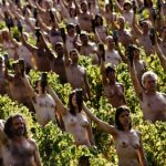 Nude models directed by US photographer Spencer Tunick pose in a Bourgogne (Burgundy) wineyard near Macon, central-eastern France, on October 3, 2009, for a giant photograph during an operation with Greenpeace. The event is organized to call attention on the danger of climatic change.Photo: AFP