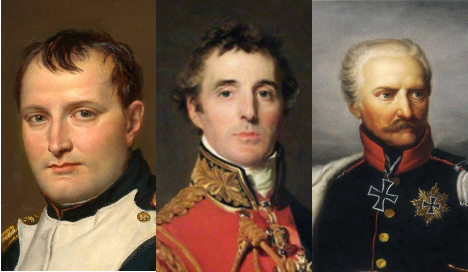 The key generals: Napoleon (left), Wellington (centre) and Blücher of Prussia (right). Photo: Wikimedia Commons