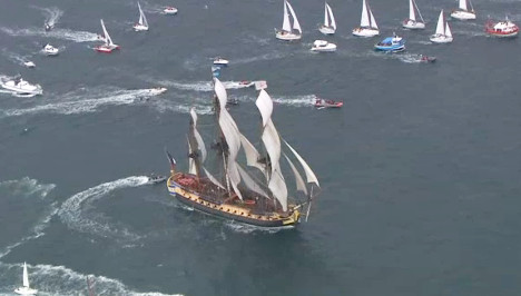 French ship 'Hermione' returns home from US