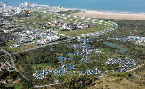 Calais: The 'Jungle' migrant camp photographed from the sky