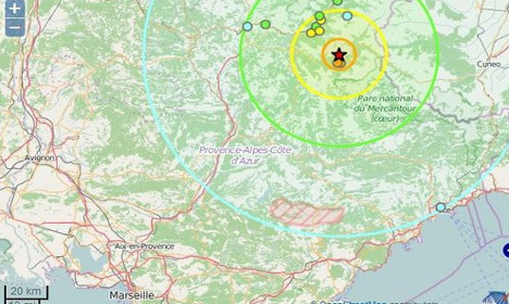 Earthquake shakes the south east of France
