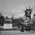 """Recognise that head anyone? At the 1878 World Fair in Paris, at the park of the Champ-de-Mars stands the planished copper bust of the head of Statue of Liberty by Auguste Bartholdi, 1834-1904) that ended up in New York of course. Buy this image by clicking here: <a href=""""http://www.parisenimages.fr/en/collections-gallery/1247-1-1878-world-fair-paris-park-champ-mars-left-bull-sculpted-isidore-jules-bonheur-1827-1901-right-planished-copper-bust-statue-liberty-original-auguste-bartholdi-1834-1904-monduit-gaget-and-gauthier-detail-a-stereoscopic-view"""">www.parisenimages.fr/en</a>Photo: Buy this image by clicking here: <a href=""""""""http://www.parisenimages.fr/en/collections-gallery/14579-15-1878-world-fair-paris-one-oxen-sculpted-isidore-jules-bonheur-champ-mars-detail-a-stereoscopic-vi"""