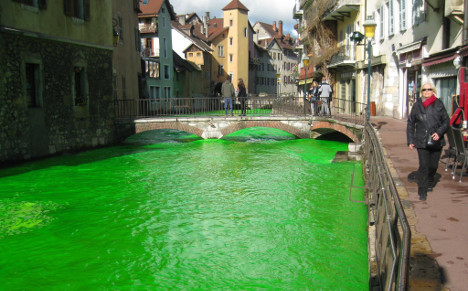 Why are rivers in France turning fluorescent green?