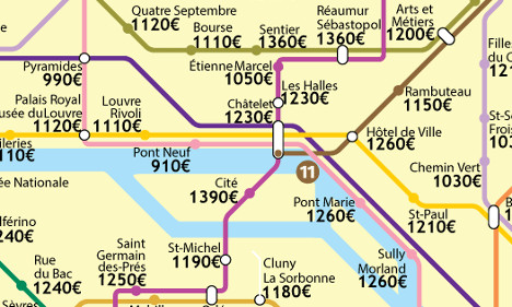 New map reveals Paris flat prices by Metro station