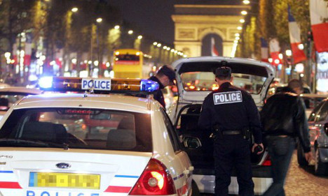 Stressed-out French police protest on Champs-Elysées