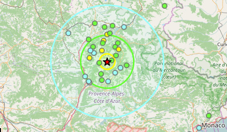 Earth moves as tremors felt in south eastern France