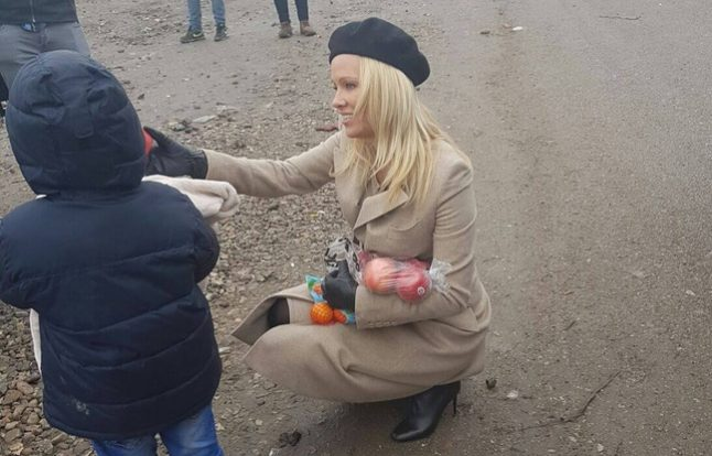 Marine Le Pen turned away from migrant camp in France… but Pamela Anderson is welcomed