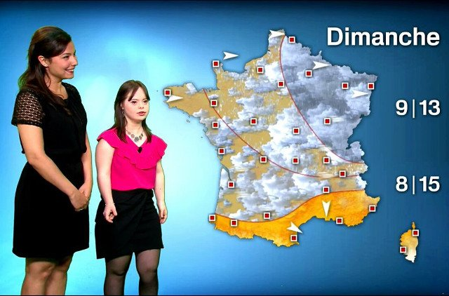 Down's Syndrome Frenchwoman realises dream by presenting TV weather show