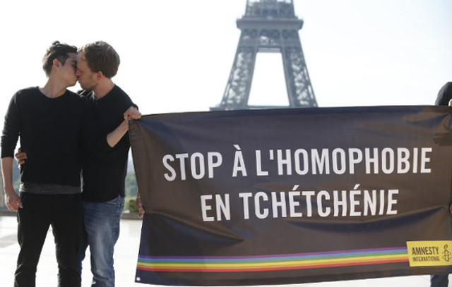 France announces arrival of first gay refugee from Chechnya just as Putin is in town