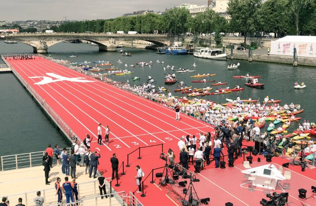 IN PICTURES: Paris hosts two day 'Olympics' as city's iconic landmarks transform into sports venues