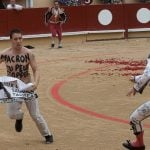 Video: Vegan activist jumps into bullring to protest French festival