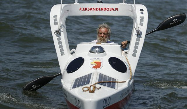 Polish grandpa arrives in France after conquering Atlantic in third kayak odyssey