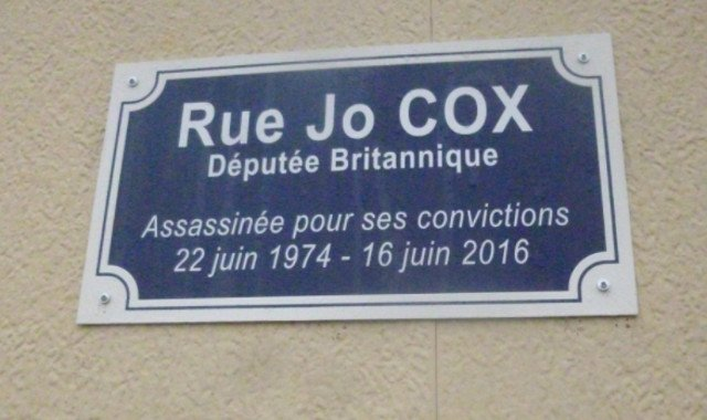 Murdered British MP Jo Cox joins Churchill in having French street named in her honour