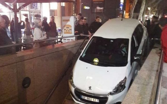 French driver confuses entrance to car park with Metro station... and gets a shock