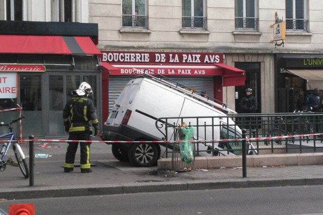 Van driver in Paris ends up parked on steps of Metro station