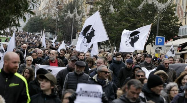 Thousands of Corsican nationalists march ahead of Macron visit