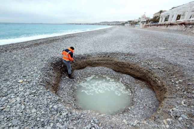 Hole-y smokes! Mysterious crater appears on French Riviera