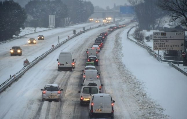 Snow causes transport chaos across south of France