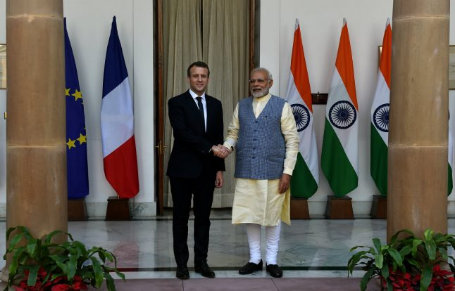 Macron and Modi sign key security deal with an eye on China