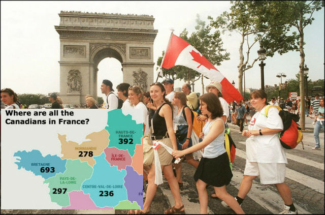 Where in France do all the Canadians live?