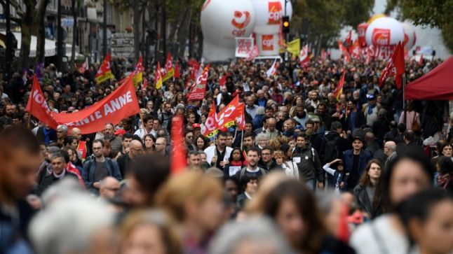 French public sector workers join rail strikers for day of protest