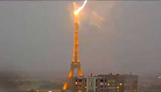 Video: Watch the Eiffel Tower get hit by lightning (again) as storms lash Paris