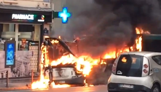 It's not the violent protesters, so why are buses in Paris going up in flames?